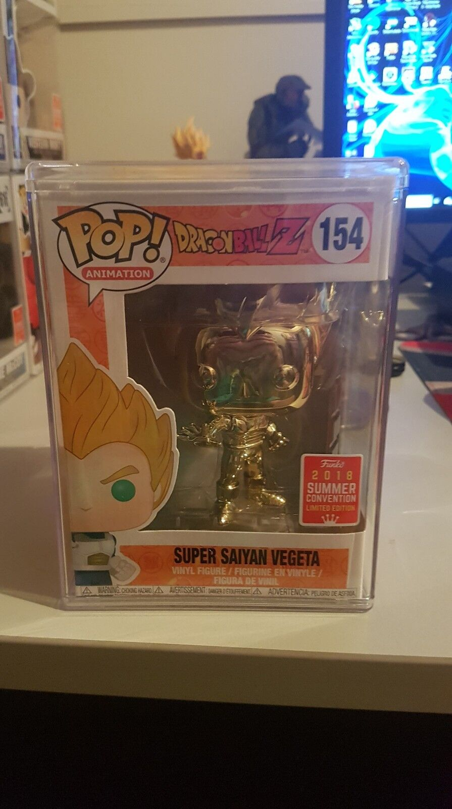 Dragon Ball Z - Vegeta Super Saiyan Gold Chrome SDCC 2018 Pop Vinyl + Hard Case