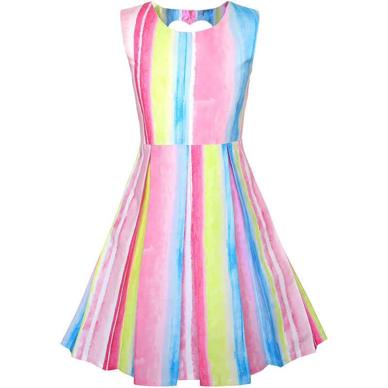 Sunny Fashion Girls Dress Striped Heart Shape Back Pink Party Age 4 ...
