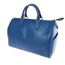 AUTHENTIC LOUIS VUITTON SPEEDY 30 HAND BAG PURSE BLUE EPI LEATHER M43005 A31074