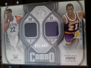 3bbf759b4 2009-10 SP Game-Used Combo Materials Rudy Gay   Michael Cooper ...