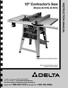 delta 10 table saw instruction manual for model no 36 441b 36 rh ebay com delta table saw manual 36-725 delta table saw manual 36-600