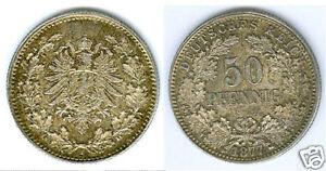 Empire 50 pfennig 1877 H revêtit à tampon brillance