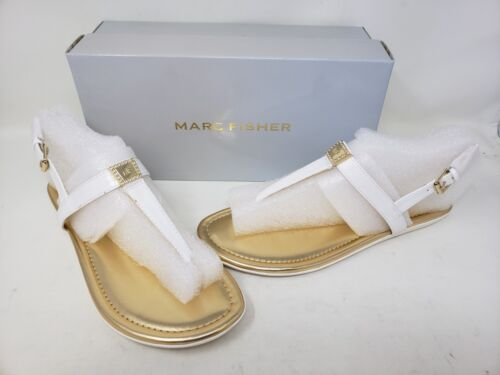 NEW Marc Fisher Women/'s Ademi Slingback Sandals White//Gold R18 tz