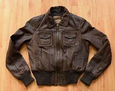 New Look Gr. M/L 38/40 Damen Lederjacke Echtleder braun womens leather jacket
