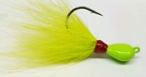 5 Striper Fluke Bass Walleye Round Ball Bucktail Jig Head Teaser Lure Red//White