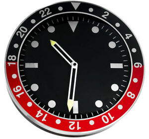 Modern-wall-clock-metal-case-black-dial-silent-sweep-35-cm