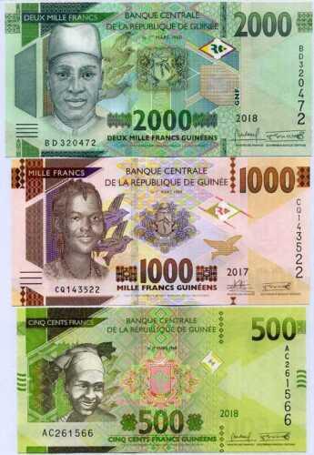 GUINEA SET 3 UNC 500 1000 2000 FRANCS 2017 2018 2019 P NEW REVISE DESIGN