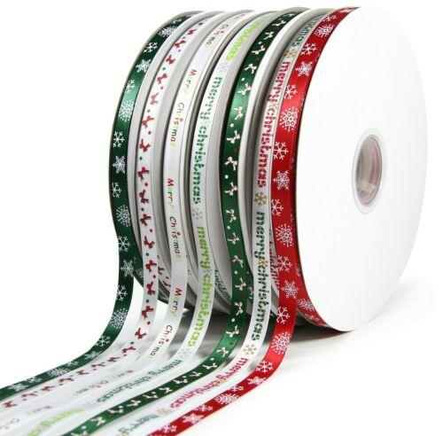 10mm Bow /& Merry Christmas Ribbon 100 yard Reels Satin Christmas Snowflake