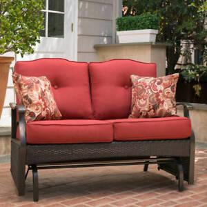 Patio Furniture Loveseat Glider.Details About Loveseat Glider Bench 2 Seat Red Steel Frame Finish Outdoor Patio Furniture