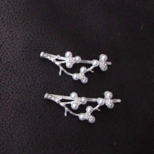 2 Silver White Cherry Blossom Flower Hair Grips Bridal Bobby Pins Sakura 4298