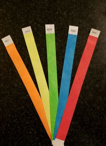 "10,000 1"" TYVEK WRISTBANDS 5 COLORS, WRISTBANDS FOR EVENTS, PAPER WRISTBANDS"
