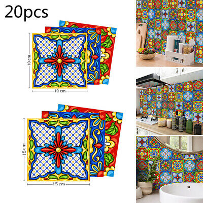 20Pcs Tile Sticker Self Adhesive Bathroom Kitchen Tile Backsplash Peel And Stick