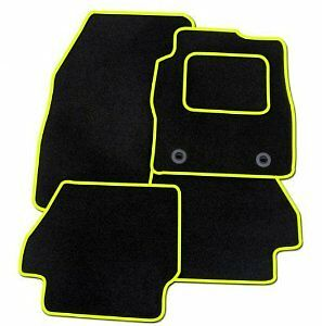 BLACK WITH YELLOW TRIM PEUGEOT 107 2005 ONWARDS TAILORED CAR FLOOR MATS