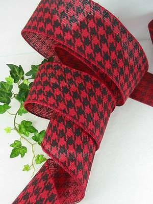 "8 Yards Red Black Houndstooth  2 1/2 "" Wire Edge Ribbon Bows Wreaths"