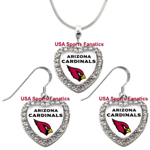 a2b086e630d3 Image is loading Arizona-Cardinals-925-Necklace-Earrings-or-Set-Team-