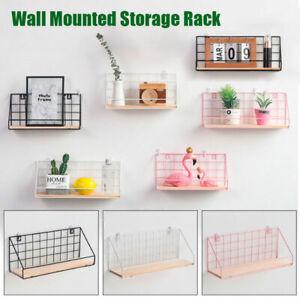 Metal-amp-Wood-Wall-Shelf-Shelves-Hanging-Rack-Hook-Industrial-Modern-Storage-Home
