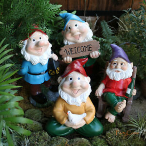 Garden Gnome Statue Resin Large Gnomes Figurine Funny Dwarf Welcome Sign Rocking