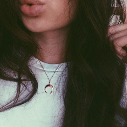 Kette Halskette Lange Crescent Moon Anhänger Horn Halskette Für Frauen Schmuck m