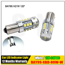 2x Canbus White H21W BAY9s 120° CREE 80W LED Bulbs for Backup or Parking Lights