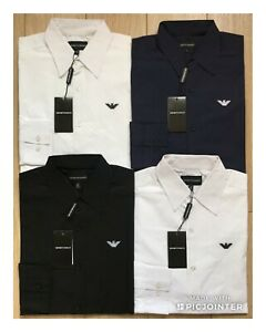Emporio-Armani-Poplin-Long-Sleeve-Shirt-Slim-Fit-Men-039-s