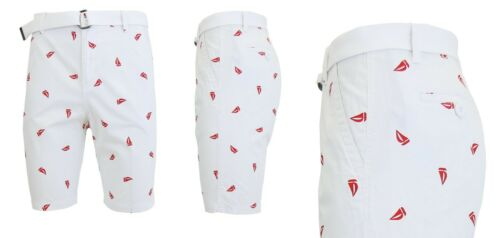 Mens Flat-Front Printed Cotton Shorts Design Pattern Pockets Fashion Belted NEW