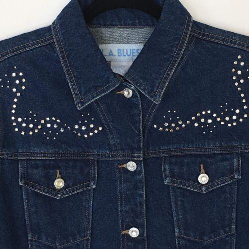Medium Tone Blue Rhinestone LA Studs Sølv Jean Dame Jacket Denim Blues qYOwz