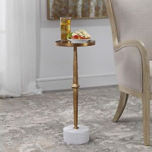 Details about Mirrored Top Side Accent Table Gold Iron & White Marble Base  Living Room Decor