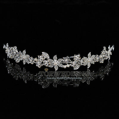Braut Brautjungfer Diadem Krone Haarreif Hochzeit Pearls Blume Kristall Tiara