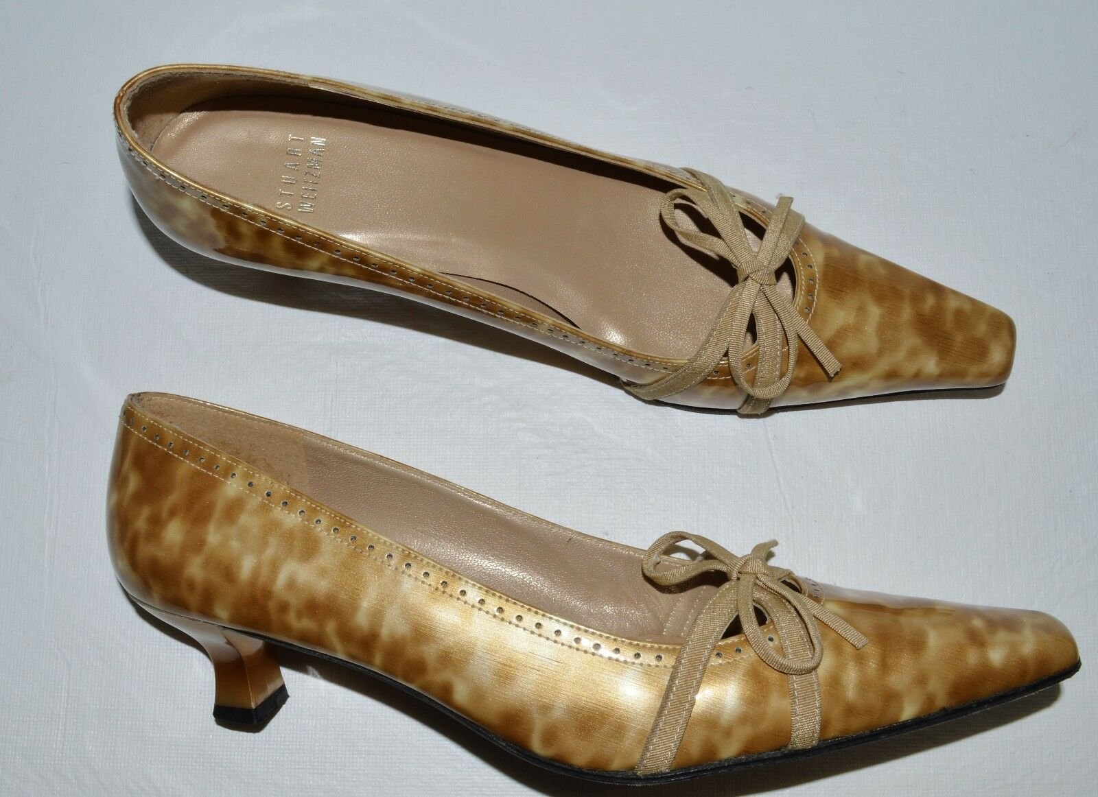 STUART WEITZMAN SZ 8 N TORTOISE PATENT LEATHER PUMPS HEELS DRESS Schuhe SPAIN