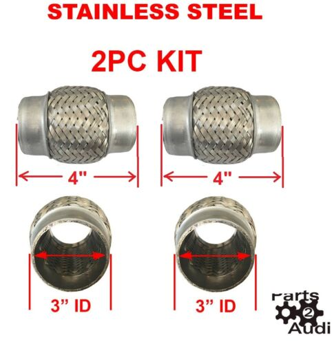 """Exhaust Flex Pipe Pipes Stainless Steel Double Braid 3/"""" ID x 4/"""" OAL 2PC Kit"""