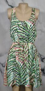 COLLECTIVE CONCEPTS Beige Green Black Aqua Patterned Racerback Dress Large