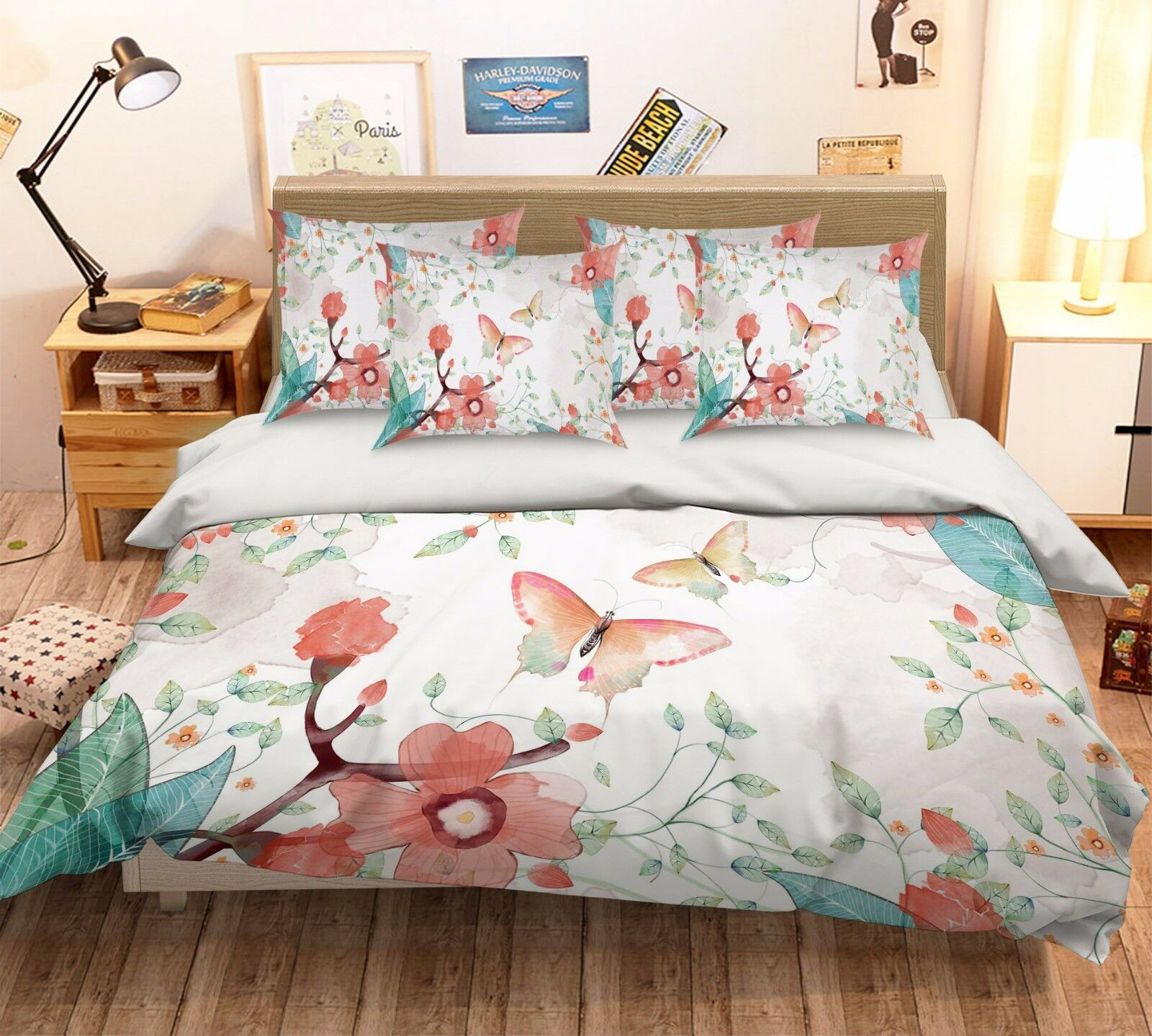 3D Butterfly 209 Bed Pillowcases Quilt Duvet Cover Set Single Queen King Größe AU