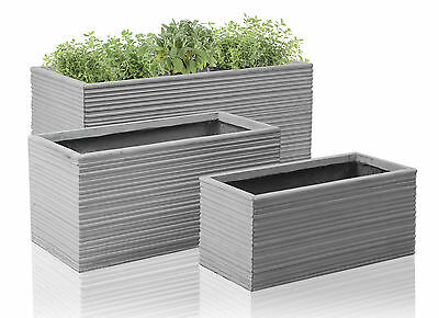 Bernis Fibrecotta Grey Trough Outdoor Garden  Patio Flower Plant Pot Planter