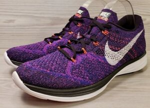 quality design 0ff9c 18a41 Image is loading Nike-Flyknit-Lunar-3-Purple-Black-White-Running-