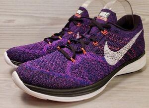 la mejor moda alta calidad Amazonas Details about Nike Flyknit Lunar 3 Purple Black White Running Training  698181-014 Size 10.5