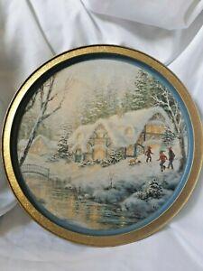 CL58-Original-Gourmet-Cookie-Tin-Serving-Tray-Lid-Winter-Scene-034-Winter-Frolic-034