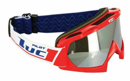 Mascherina occhiali LUC1 moto sci ROSSA BIANCA CROSS ENDURO IRIDIUM TRASPARENT