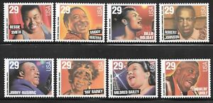 États-Unis Scott #2854-2861 29 C Blues & Jazz Artists timbres neuf sans charnière ORIGINAL GUM XF-SUPERBE!!!