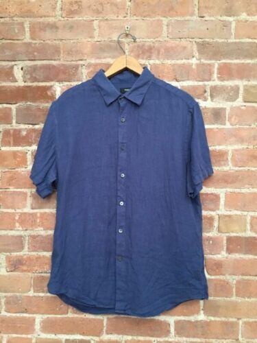 Theory Mens Shirt 100% Linen, Sz Medium Blue