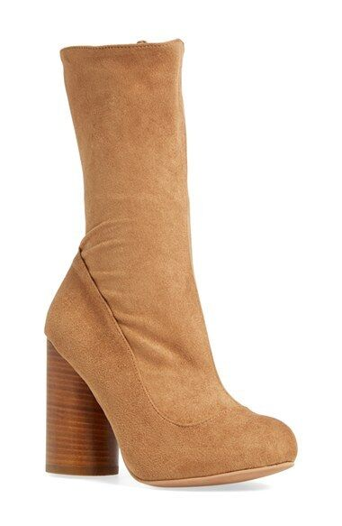Jeffrey Campbell 'Sequel' Mid Calf stretch shaft Boots CAMEL new sz 8.5 M NEW