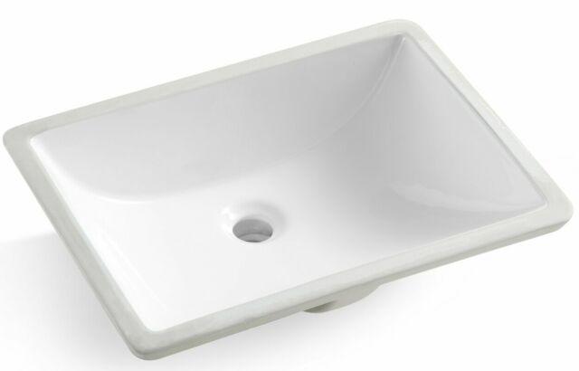 White Rectangular Undermount Bathroom Vanity Sink With Overflow 18 X 13 Bowl For Sale Online