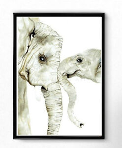 Details About Mother And Baby Elephant Print Nursery Art Prints Watercolor Childrens Room