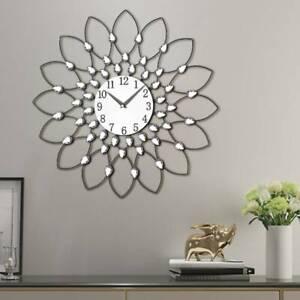 50cm-Clear-Diamante-Beaded-Jewelled-Black-Metal-Spike-Sunburst-Wall-Clock-UK