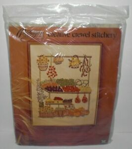 Vintage-1975-Paragon-FARMER-039-S-MARKET-Crewel-Embroidery-Needlework-Kit-0223-NEW