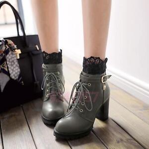 Das Bild wird geladen Mode-Winter-Damen-Schuhe-mit-dicken-Absatz- Stiefeletten- 6b82e6139e