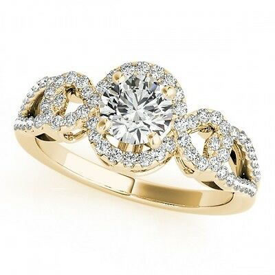 3006. 1.38 CTW Certified VS/SI Diamond Bridal Solitaire Halo Ring 18K Yell... Lot 3006