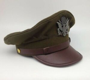 Details about WWII US ARMY AIR CORPS FORCE MILITARY HAT OFFICER WIDE BRIM  HAT CAP SIZE M
