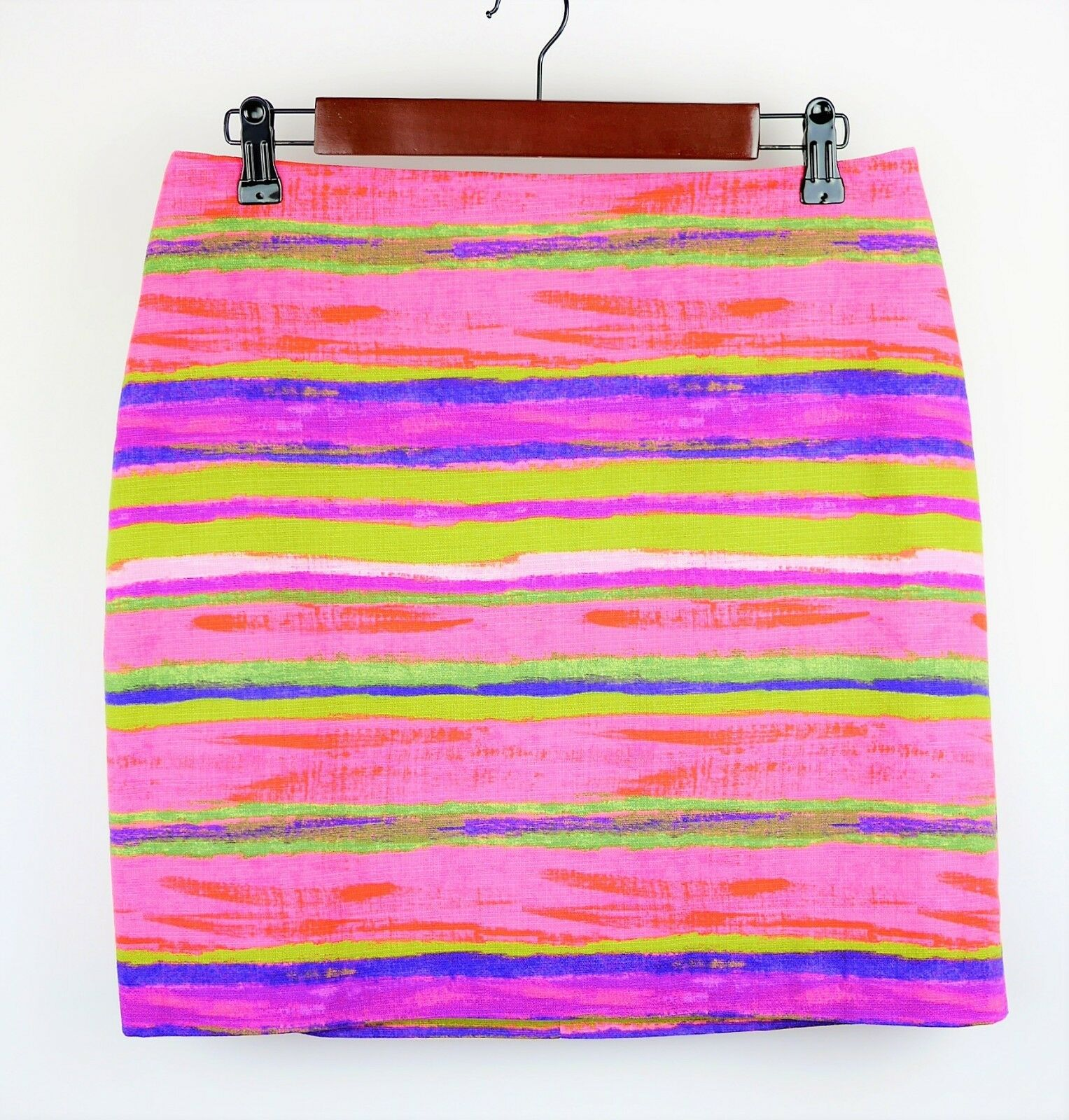 ANN TAYLOR Size 8 P - HOT PINK PURPLE & GREEN STRIPED STRAIGHT SKIRT Above Knees