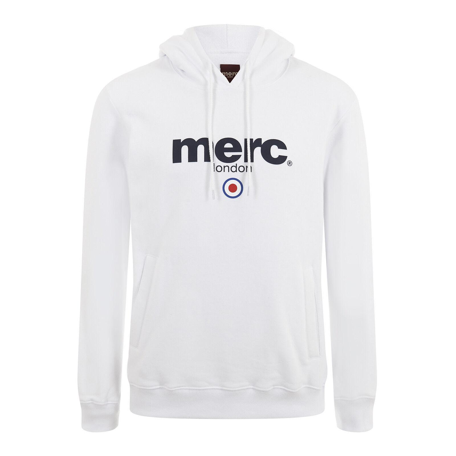 Herren Merc London Marken-Logo Kapuzenpulli Pille - weiß