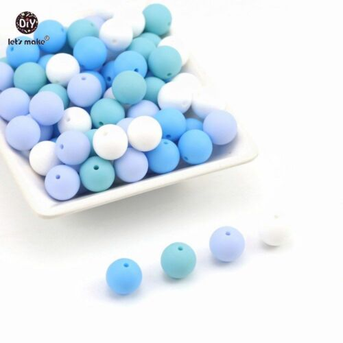 Silicon Teether Accessories Blue Series Silicone Bead Food Grade Jewelry Beads